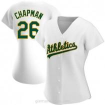 Womens Matt Chapman Oakland Athletics #26 Replica White Home A592 Jerseys