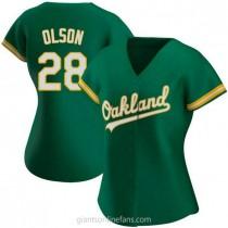 Womens Matt Olson Oakland Athletics #28 Authentic Green Kelly Alternate A592 Jersey