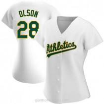 Womens Matt Olson Oakland Athletics #28 Replica White Home A592 Jersey