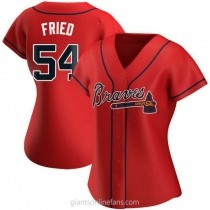 Womens Max Fried Atlanta Braves #54 Authentic Red Alternate A592 Jersey