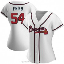 Womens Max Fried Atlanta Braves #54 Authentic White Home A592 Jersey