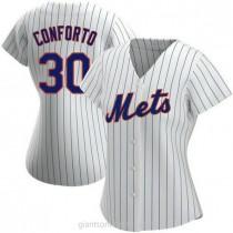 Womens Michael Conforto New York Mets #30 Replica White Home A592 Jerseys