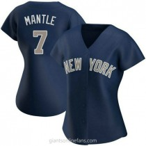Womens Mickey Mantle New York Yankees #7 Authentic Navy Alternate A592 Jersey