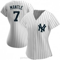 Womens Mickey Mantle New York Yankees #7 Authentic White Home Name A592 Jersey