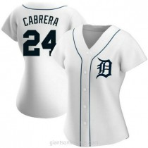 Womens Miguel Cabrera Detroit Tigers #24 Authentic White Home A592 Jersey