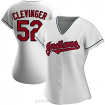 Womens Mike Clevinger Cleveland Indians #52 Authentic White Home A592 Jerseys