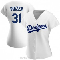 Womens Mike Piazza Los Angeles Dodgers #31 Authentic White Home A592 Jerseys