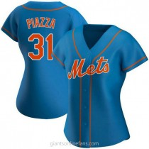 Womens Mike Piazza New York Mets #31 Authentic Royal Alternate A592 Jersey