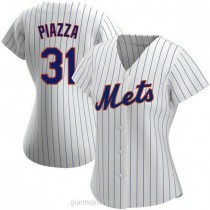 Womens Mike Piazza New York Mets #31 Authentic White Home A592 Jersey