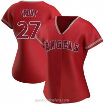 Womens Mike Trout Los Angeles Angels Of Anaheim #27 Authentic Red Alternate A592 Jersey