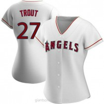 Womens Mike Trout Los Angeles Angels Of Anaheim #27 Authentic White Home A592 Jerseys