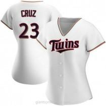 Womens Nelson Cruz Minnesota Twins #23 Authentic White Home A592 Jersey