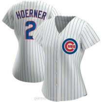 Womens Nico Hoerner Chicago Cubs #2 Authentic White Home A592 Jersey