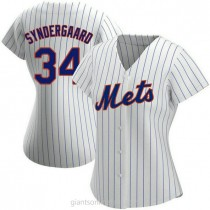 Womens Noah Syndergaard New York Mets #34 Replica White Home A592 Jersey