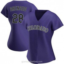 Womens Nolan Arenado Colorado Rockies #28 Authentic Purple Alternate A592 Jerseys