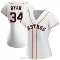 Womens Nolan Ryan Houston Astros #34 Authentic White Home A592 Jerseys