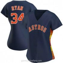 Womens Nolan Ryan Houston Astros #34 Replica Navy Alternate A592 Jersey