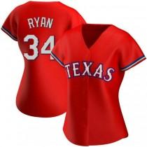 Womens Nolan Ryan Texas Rangers #34 Replica Red Alternate A592 Jerseys