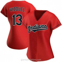 Womens Omar Vizquel Cleveland Indians #13 Authentic Red Alternate A592 Jerseys