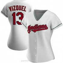 Womens Omar Vizquel Cleveland Indians #13 Authentic White Home A592 Jersey