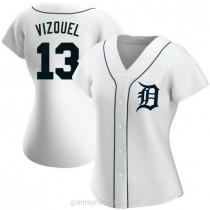 Womens Omar Vizquel Detroit Tigers #13 Authentic White Home A592 Jersey