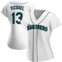 Womens Omar Vizquel Seattle Mariners #13 Authentic White Home A592 Jersey