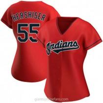 Womens Orel Hershiser Cleveland Indians #55 Replica Red Alternate A592 Jerseys