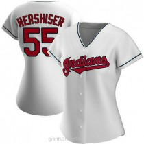 Womens Orel Hershiser Cleveland Indians #55 Replica White Home A592 Jerseys