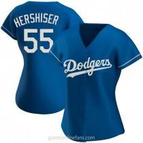 Womens Orel Hershiser Los Angeles Dodgers #55 Replica Royal Alternate A592 Jersey