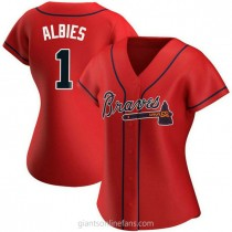 Womens Ozzie Albies Atlanta Braves #1 Authentic Red Alternate A592 Jersey