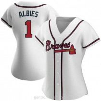 Womens Ozzie Albies Atlanta Braves #1 Authentic White Home A592 Jerseys