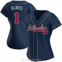 Womens Ozzie Albies Atlanta Braves #1 Replica Navy Alternate A592 Jerseys