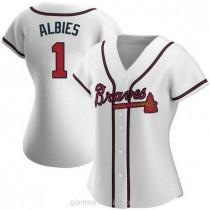 Womens Ozzie Albies Atlanta Braves #1 Replica White Home A592 Jerseys