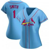 Womens Ozzie Smith St Louis Cardinals #1 Light Blue Alternate A592 Jersey Authentic