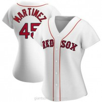 Womens Pedro Martinez Boston Red Sox #45 Authentic White Home A592 Jersey