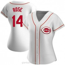 Womens Pete Rose Cincinnati Reds #14 Authentic White Home A592 Jersey