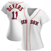Womens Rafael Devers Boston Red Sox #11 Authentic White Home A592 Jersey