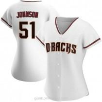 Womens Randy Johnson Arizona Diamondbacks #51 Replica White Home A592 Jerseys