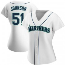 Womens Randy Johnson Seattle Mariners #51 Authentic White Home A592 Jerseys