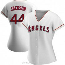 Womens Reggie Jackson Los Angeles Angels Of Anaheim #44 Authentic White Home A592 Jersey