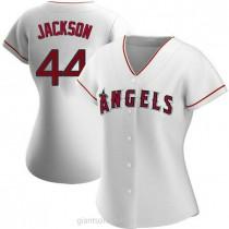 Womens Reggie Jackson Los Angeles Angels Of Anaheim #44 Replica White Home A592 Jersey
