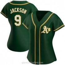 Womens Reggie Jackson Oakland Athletics #9 Replica Green Alternate A592 Jersey