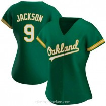 Womens Reggie Jackson Oakland Athletics #9 Replica Green Kelly Alternate A592 Jersey