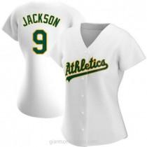 Womens Reggie Jackson Oakland Athletics #9 Replica White Home A592 Jerseys