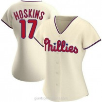 Womens Rhys Hoskins Philadelphia Phillies #17 Authentic Cream Alternate A592 Jersey