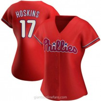 Womens Rhys Hoskins Philadelphia Phillies #17 Authentic Red Alternate A592 Jersey