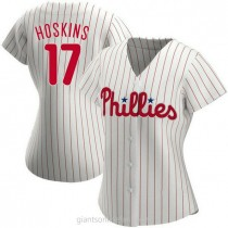 Womens Rhys Hoskins Philadelphia Phillies #17 Replica White Home A592 Jersey