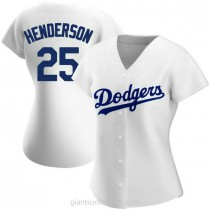 Womens Rickey Henderson Los Angeles Dodgers #25 Authentic White Home A592 Jersey