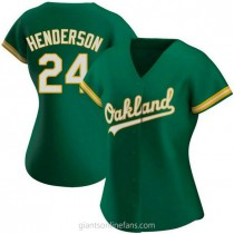 Womens Rickey Henderson Oakland Athletics #24 Authentic Green Kelly Alternate A592 Jersey