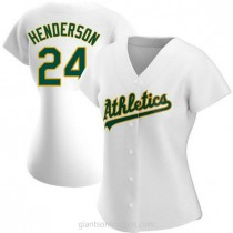 Womens Rickey Henderson Oakland Athletics #24 Authentic White Home A592 Jersey